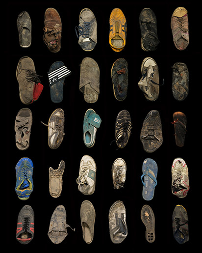 griot-mag-Dzhangal | The objects of Calais shot by Gideon Mendel-Thirty shoes, trainers, and sandals