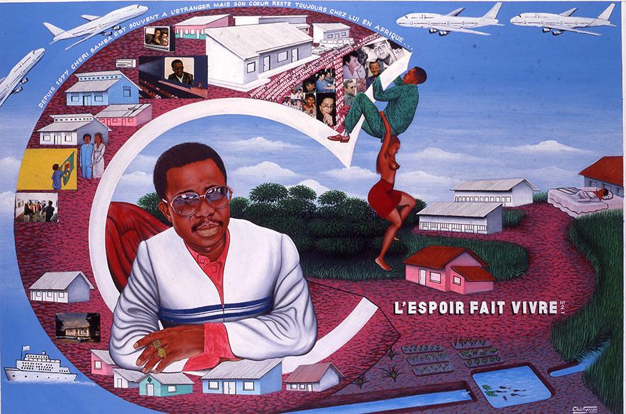 griot-mag-lilian-thuram-art-afrique-louis.vuitton-foundation-racism-in-sport-contemporary-african-art-L'espoir, di Chéri Samba, Collezione Jean Pigozzi