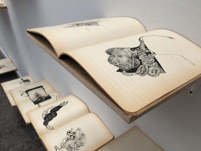 griot mag Aïcha Snoussi - le livre des anomalies - كتاب الشذوذ - Ink on school copybooks- 22 x 33 x ∞ - Art Paris Art Fair - 2017 (2)
