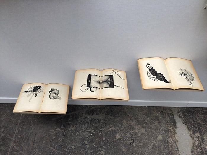 griot mag Aïcha Snoussi - le livre des anomalies - كتاب الشذوذ - Ink on school copybooks- 22 x 33 x ∞ - Art Paris Art Fair - 2017
