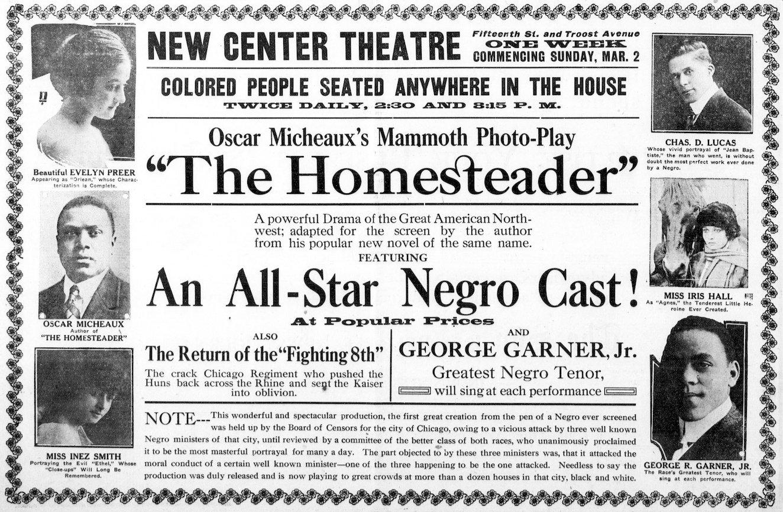 """Pubblicità del film """"The Homesteader"""" (1919) di Oscar Micheaux - via"""