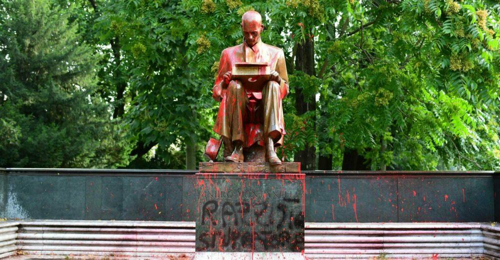 griot mag rimozione vandalizzazione montanelli statua rosa